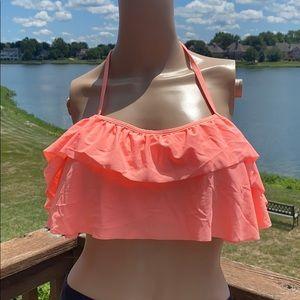 NWOT Women's Tiered Ruffled Tie Back Bikini Top